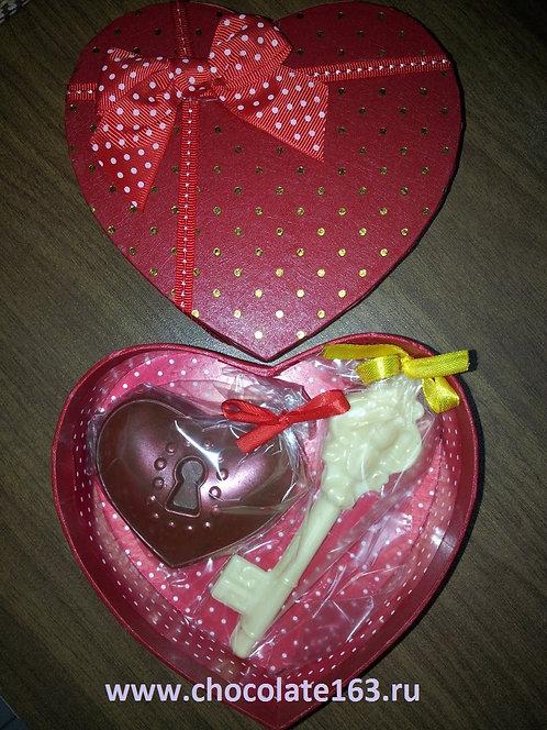 Сердце на замке + ключик(80 гр, 8*6 см)