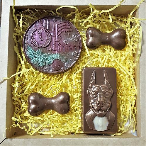 Набор новогодний с шоколадной собачкой