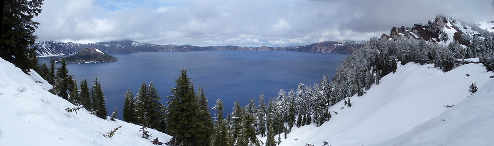 Amazing View of Crater Lake in the snow