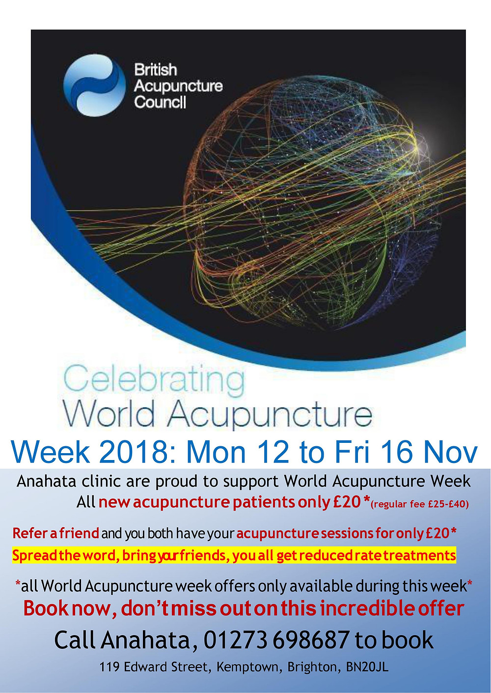 World Acupuncture Week spcial offer of £20 treatments