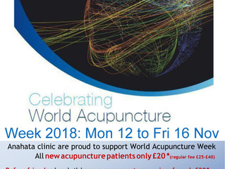 World Acupuncture Week Monday 12th to Friday 16th November 2018