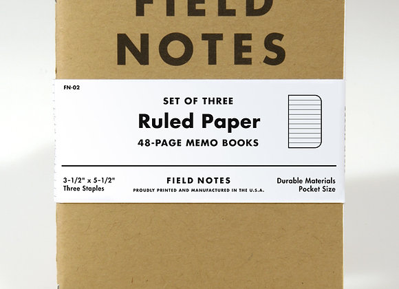 Field Notes Set of 3 Ruled Paper Memo Books