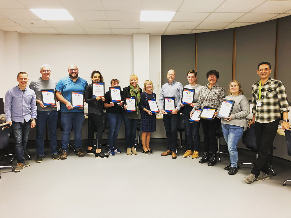 Course 2 students with their certificates