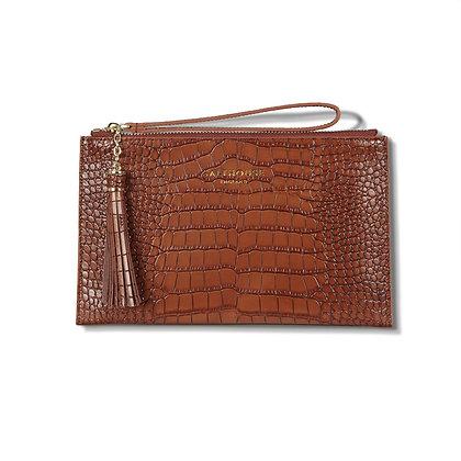 Serafina Clutch Bag Croc (Chestnut)