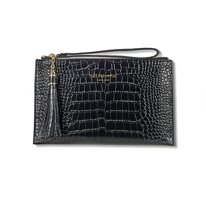 Serafina Clutch Bag Croc (Noir)