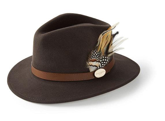 The Suffolk Fedora Guinea & Pheasant Feather (Dark Brown)
