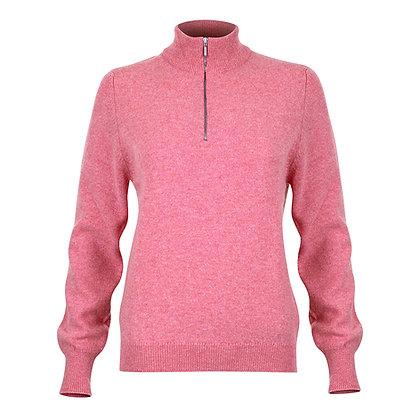 Ladies Zip Neck Jumper (Pink)