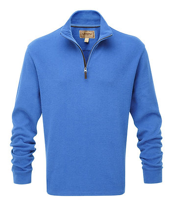 Cotton French Rib ¼ Zip (Cornflower Blue)
