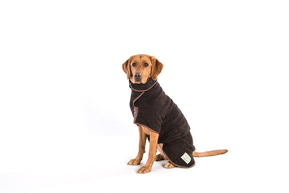 Country Drying Dog Coat - Faux Leather Trim (Mud)