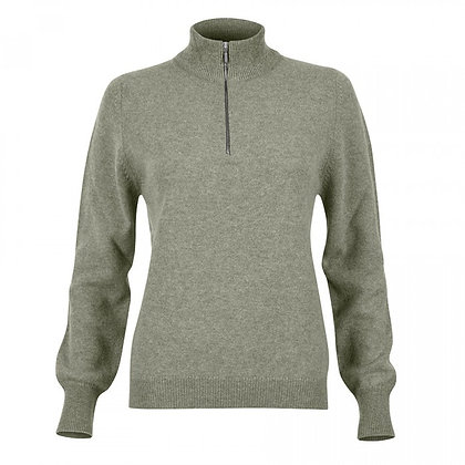 Ladies Zip Neck Jumper (Sage)