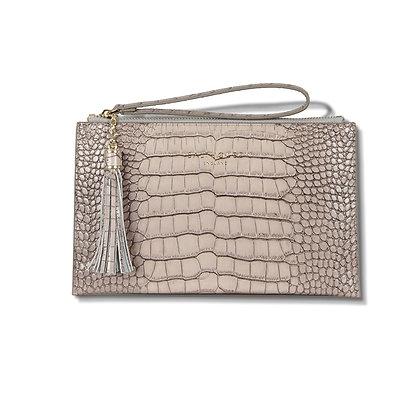 Serafina Clutch Bag Croc (Stone)