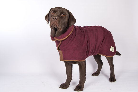 Country Drying Dog Coat - Faux Leather Trim (Burgundy)