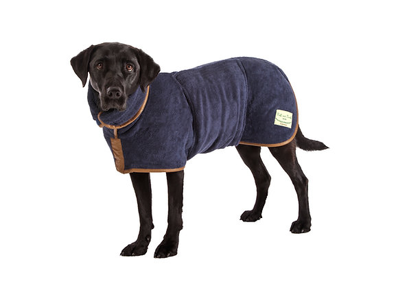 Country Drying Dog Coat - Faux Leather Trim (French Navy)