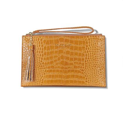 Serafina Clutch Bag Croc (Honey)