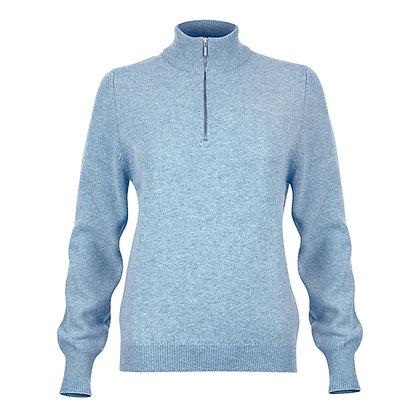Ladies Zip Neck Jumper (Blue)