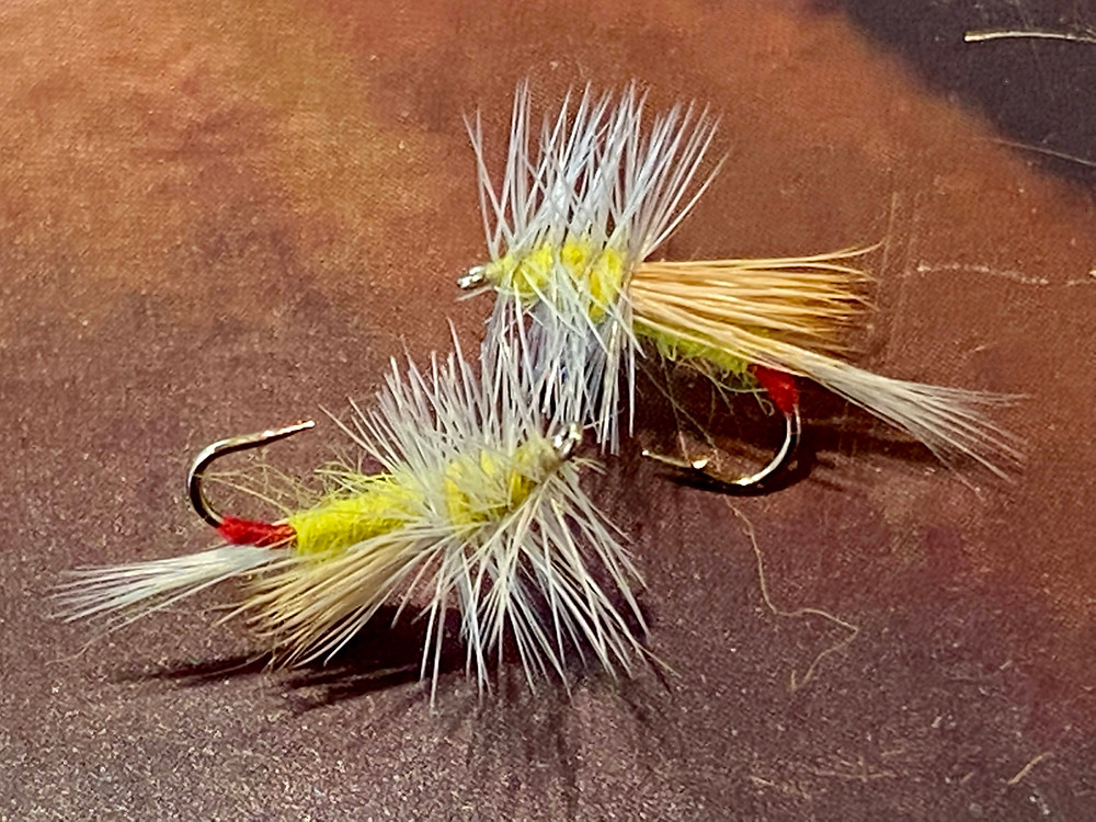 A size 14 yellow sally pattern with an elk hair wing