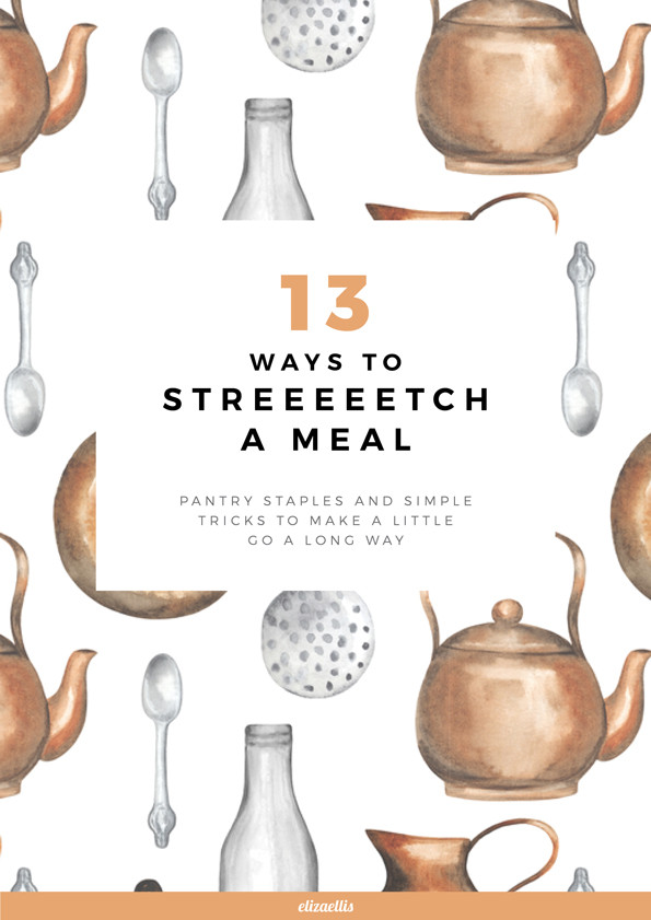 13 Ways to Stretch a Meal // Eliza Ellis. Simple tricks and pantry staples help make a little go a long way! Housekeeping tips, pantry tips, cooking tips, homemaking tips, homestead tips, kitchen tips and hacks.