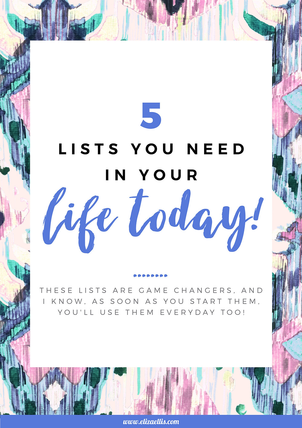 5 Lists You Need In Your Life Today! // Eliza Ellis // lists, lists to make, list organizing, organizing with lists, list ideas, lists for self care, bucket list, happy list, ultimate list, easy meal ideas list, recipe list, things to buy list, wish list, shopping list, gift ideas, christmas gift ideas, project lists, birthday gift ideas, christmas gift list, easter gift list, 2020 bucket list, 2020 self care list, life lists, to do list ideas, to do list organization, to do list printable, printable planners, free printables