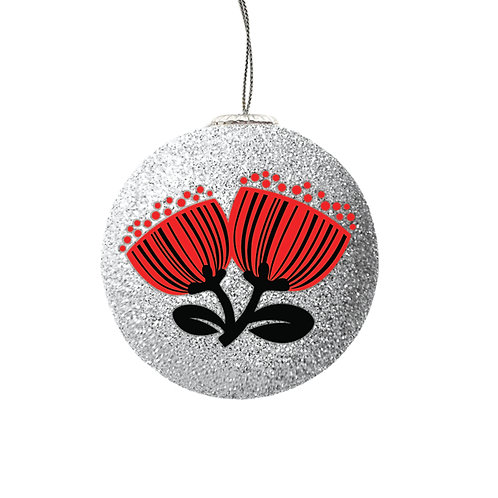 Set of 2 Xmas Baubles - Scandi Pohutukawa