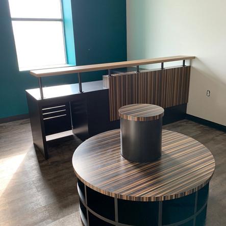 Custom Laminate Desk With Cutout For Mini Fridge