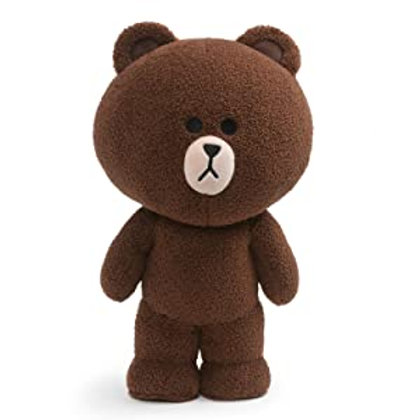LINE Friends Brown Standing Plush Stuffed Animal Bear, Brown