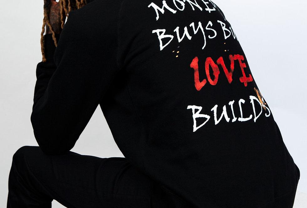 "Two Men's ""Love Builds"" Hooded Sweatshirt // BLACK & BEIGE SET"