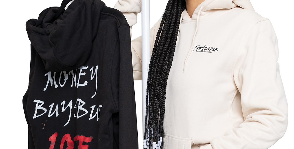 "Two Women's ""Love Builds"" Hooded Sweatshirt // BLACK & BEIGE SET"