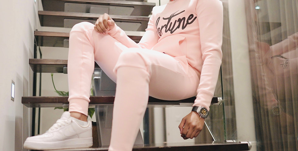 Men's Baby Pink Fortune Signature Tracksuit