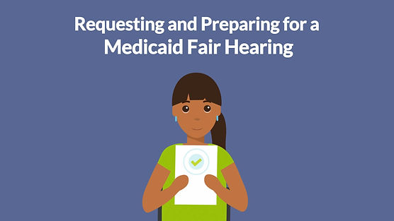 Still from accessible media production company BxB's video animated explainer on Medicaid Fair Hearings.