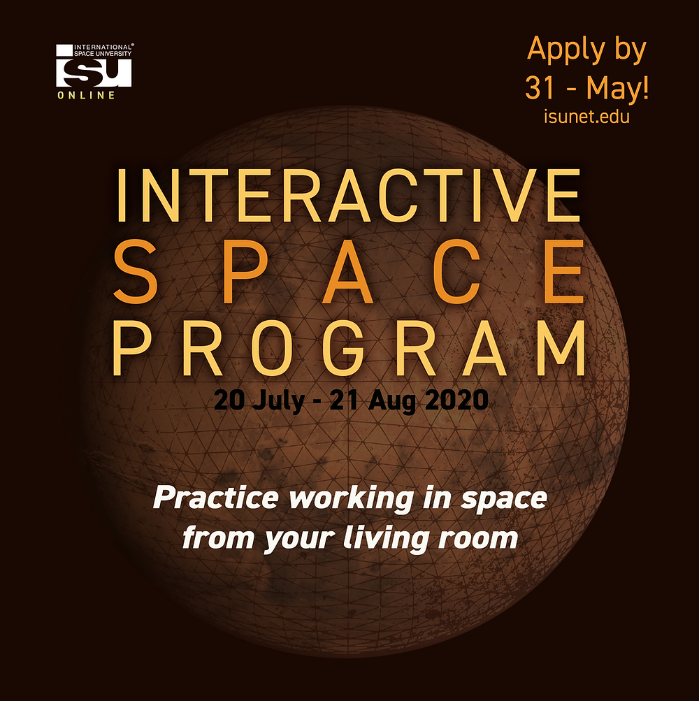 """Poster advertising ISU's 2020 Interactive Space Program, with caption, """"Practice working in space from your living room"""" superimposed over an orange planet."""