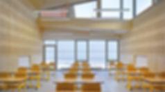 infrastructure en bois massif, salle de classe en bois massif, école collège lycée en bois, panneaux acoustique Novatop Imca panels