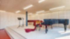 infrastructure en bois massif, salle de musique acoustique en bois, école de musique acoustique en bois massif, panneaux acoustique Novatop Imca panels
