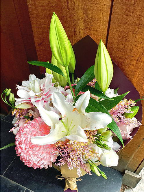 Pink mums and Lilies
