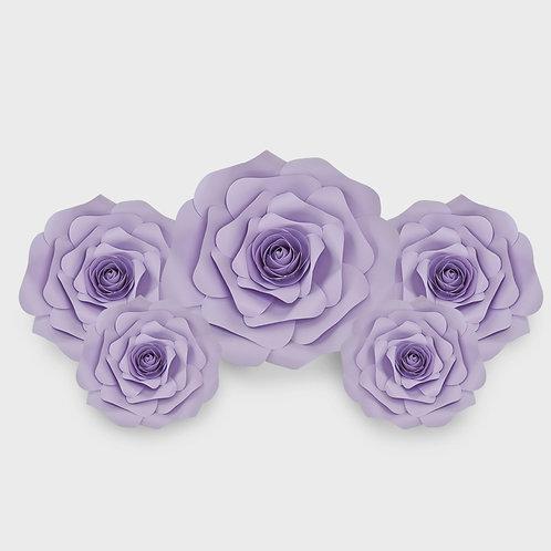 Handmade 5pc Paper Flower Set (Light Purple)