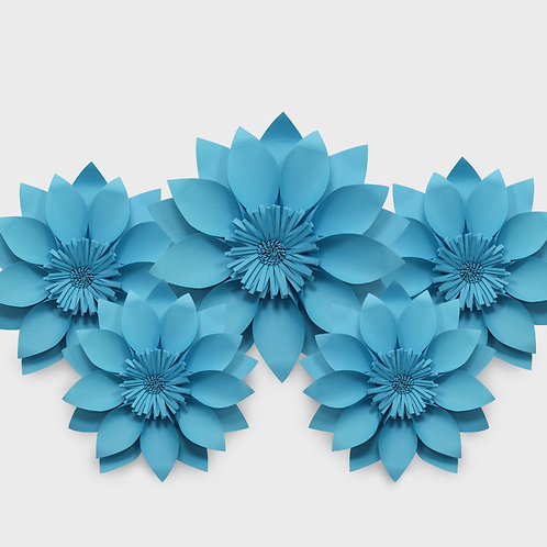 Handmade 5 Piece Paper Flower Set (Lunar Blue)