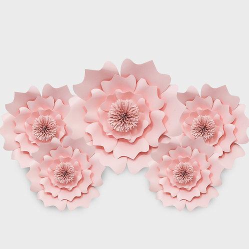 Handmade 5 Piece Paper Flower Set (Pink)