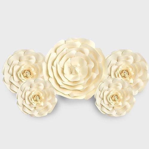 Handmade 5pc Paper Flower Set (Cream)
