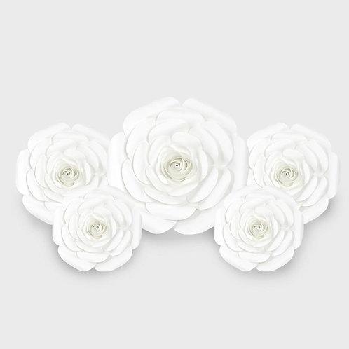 Handmade 5pc Paper Flower Set (White)