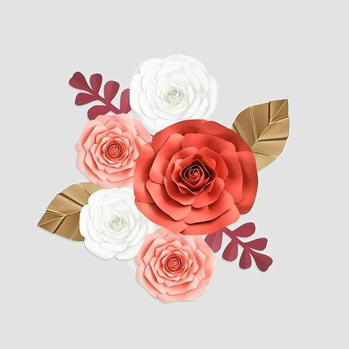 Handmade 9pc Paper Flower Set (White, Pink, Red)