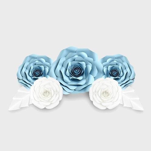 Handmade 7pc Paper Flower Set (Light Blue & White)