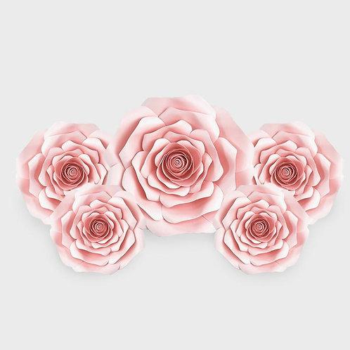 Handmade 5pc Paper Flower Set (Light Pink)