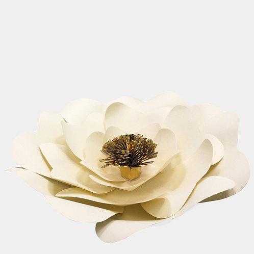 Cream Round Paper Flower with Gold Center (3 Sizes)