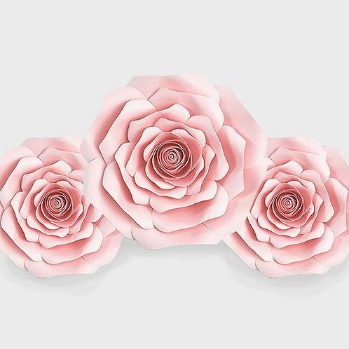 Handmade 3pc Paper Flower Set (Light Pink)
