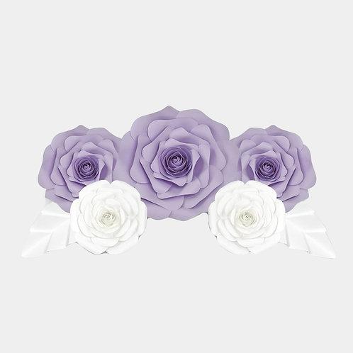 Handmade 7pc Paper Flower Set (Purple & White)