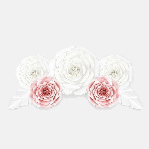 Handmade 7pc Paper Flower Set (White & Pink)