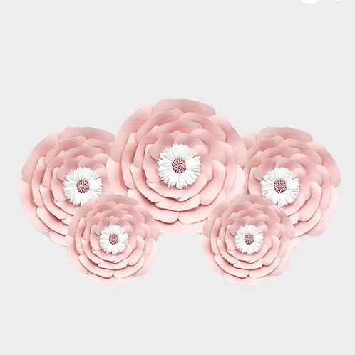 Handmade 5 Piece Paper Flower Set (Pink/White)