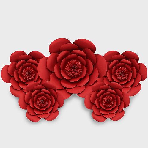 Handmade 5 Piece Paper Flower Set (Red)