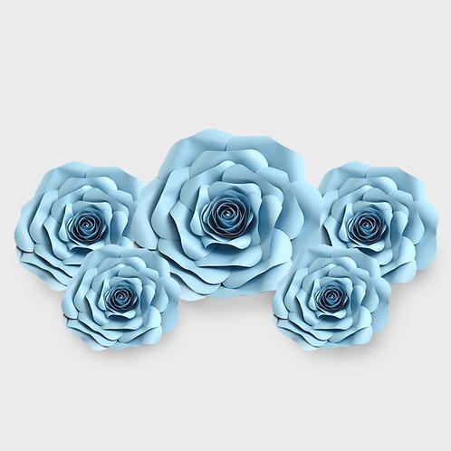 Handmade 5pc Paper Flower Set (Light Blue)