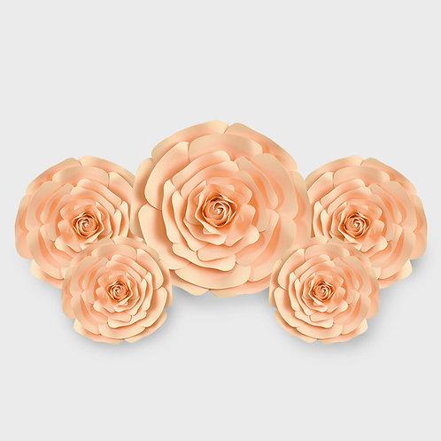 Handmade 5pc Paper Flower Set (Peach)