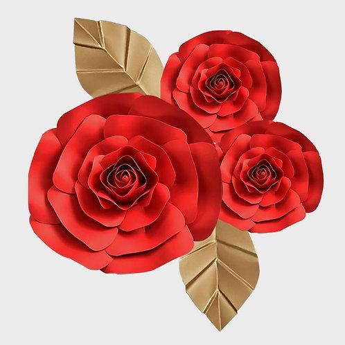 Handmade 3pc Paper Flower Set (Red)